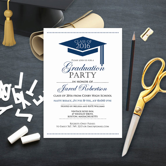 College Graduation Invitation Templates Inspirational Graduation Announcement Boy Printable Template Navy High