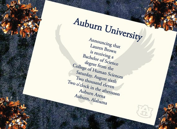 College Graduation Invitation Wording Awesome Items Similar to Auburn University Graduation Announcement