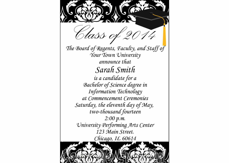 College Graduation Invitation Wording Beautiful Items Similar to College Graduation Announcement