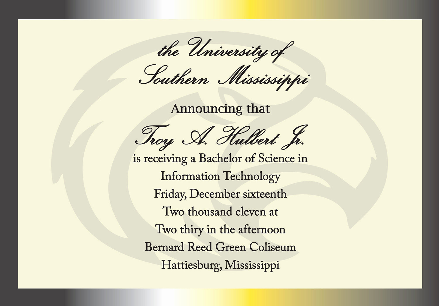 College Graduation Invitation Wording Elegant Items Similar to University Of southern Mississippi