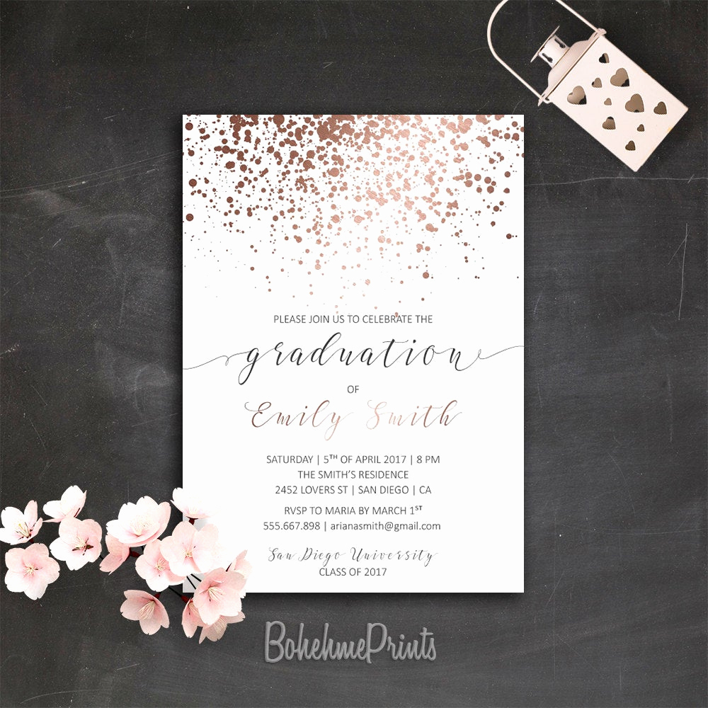 College Graduation Party Invitation Elegant Rose Gold Graduation Party Invitation Printable College Grad