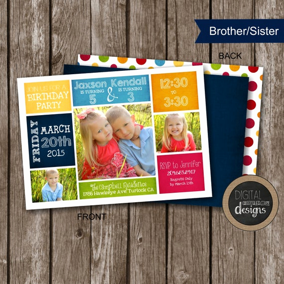Combined Birthday Party Invitation Wording Awesome Joint Sibling Birthday Party Invitations by