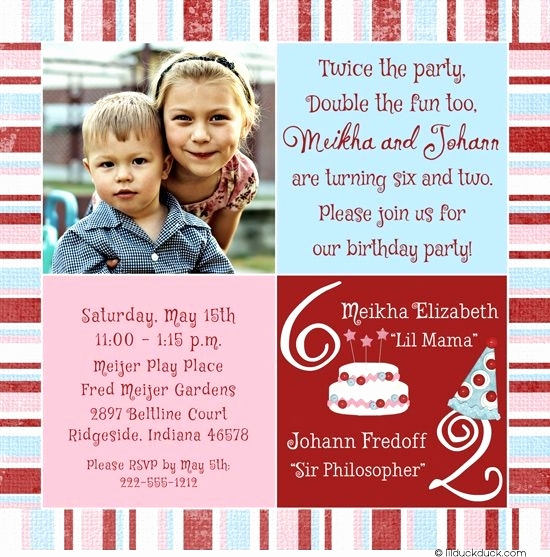 Combined Birthday Party Invitation Wording Awesome Sibling Birthday Party Invitations Cobypic