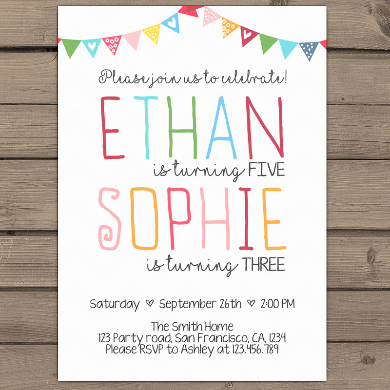 Combined Birthday Party Invitation Wording Beautiful Joint Birthday Invitation Joint Birthday Party Invitationtwins