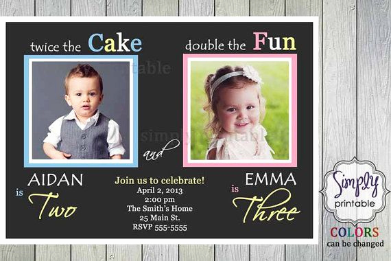Combined Birthday Party Invitation Wording Best Of Joint Party Girl Boy Birthday Invite Pink Blue Yellow