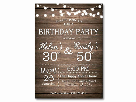 Combined Birthday Party Invitation Wording Elegant Adult Joint Birthday Invitation Joint Birthday Party