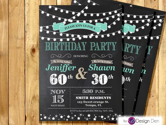 Combined Birthday Party Invitation Wording Elegant Adult Joint Birthday Invitation String Light