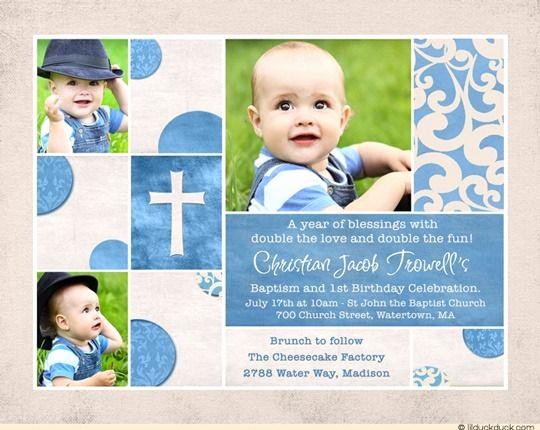 Combined Birthday Party Invitation Wording Elegant Baptism Birthday Invitation Blue & Cream Double Holy