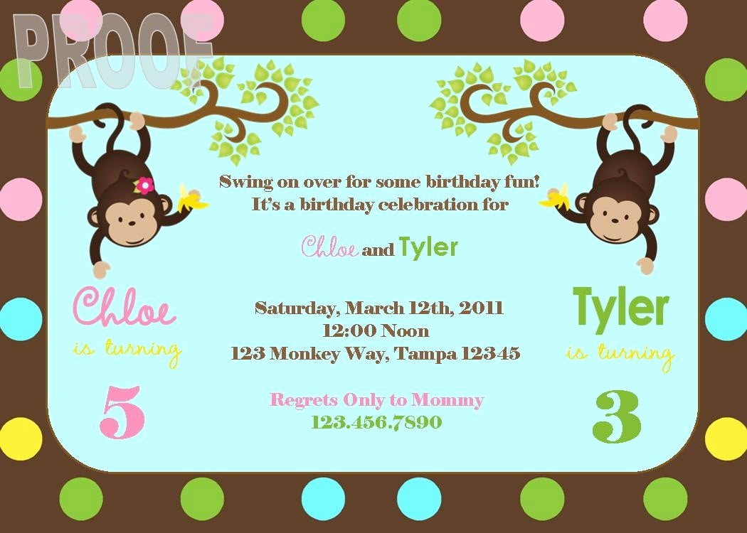 Combined Birthday Party Invitation Wording Fresh New Monkey Joint Birthday Party Custom Invitation Perfect for