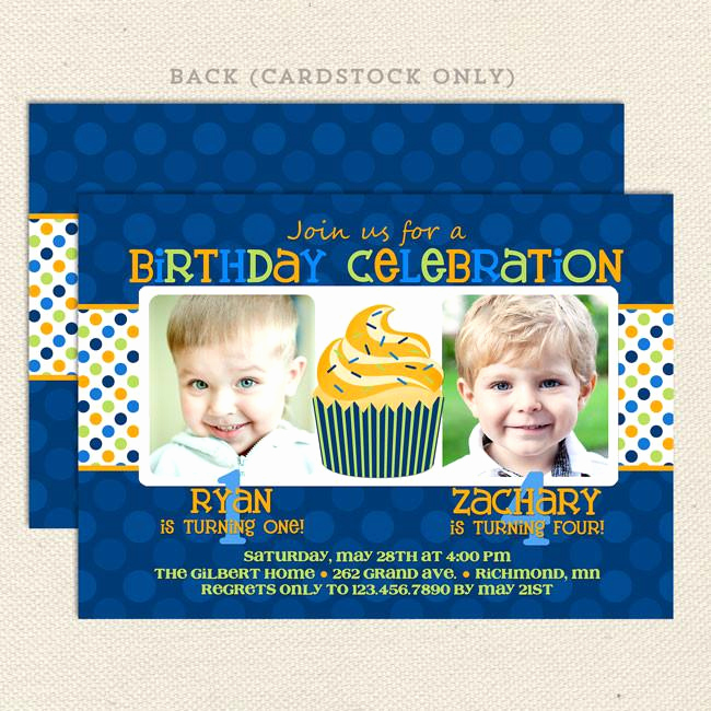 Combined Birthday Party Invitation Wording Lovely Twin Fun Joint Birthday Party Invitations – Lil Sprout