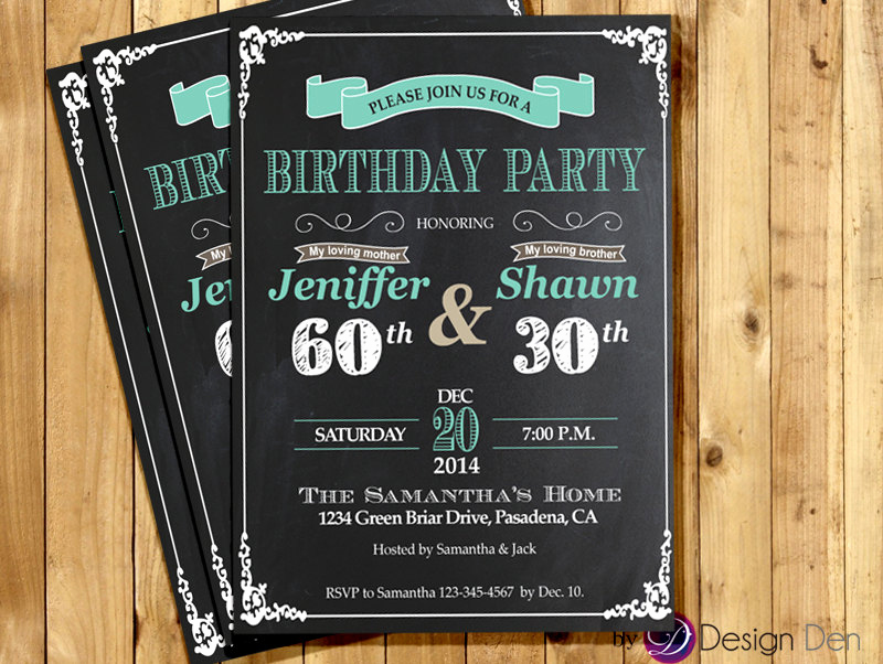 Combined Birthday Party Invitation Wording Unique Adult Joint Birthday Invitation Chalkboard White and Teal