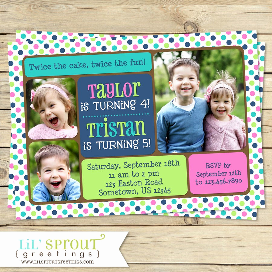 Combined Birthday Party Invitation Wording Unique Twin Joint or Sibling Birthday Invitation You Print