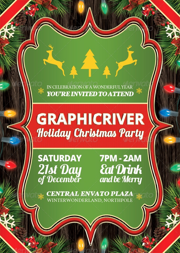 Company Holiday Party Invitation Elegant 20 Christmas Party Templates Psd Eps Vector format