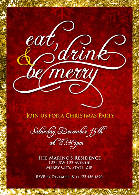 Company Holiday Party Invitation Elegant Christmas Party Invitation Eat Drink & Be Merry Christmas