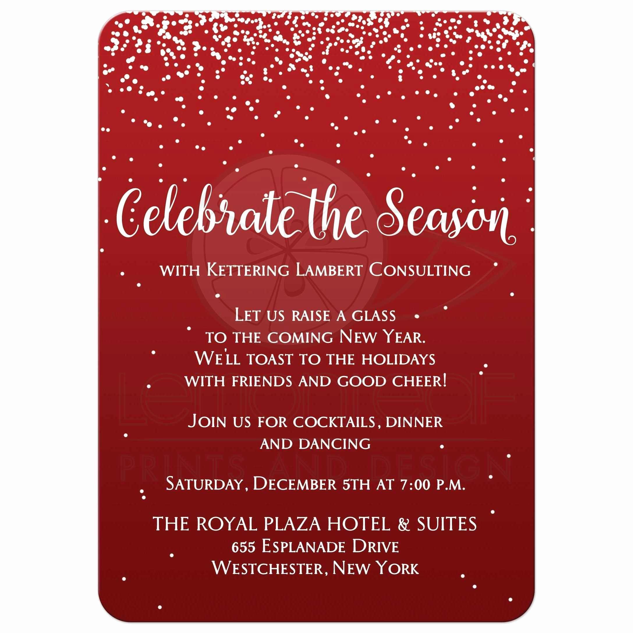 Company Holiday Party Invitation Elegant Holiday Party Invitation 2 Celebrate the Season