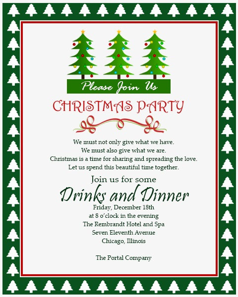 Company Holiday Party Invitation Unique Christmas Invitation Template and Wording Ideas