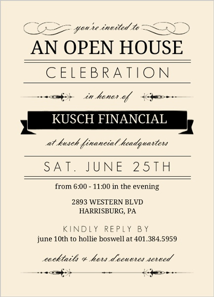 Company Open House Invitation Awesome Cream and Black Typographic Corporate Open House
