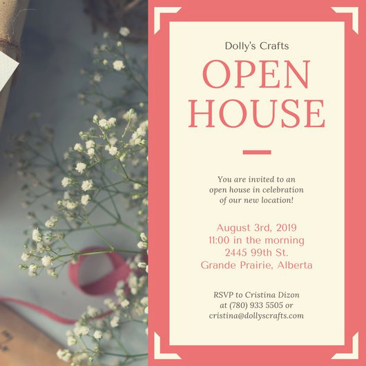 Company Open House Invitation Beautiful Coral Border Business Open House Invitation Templates by