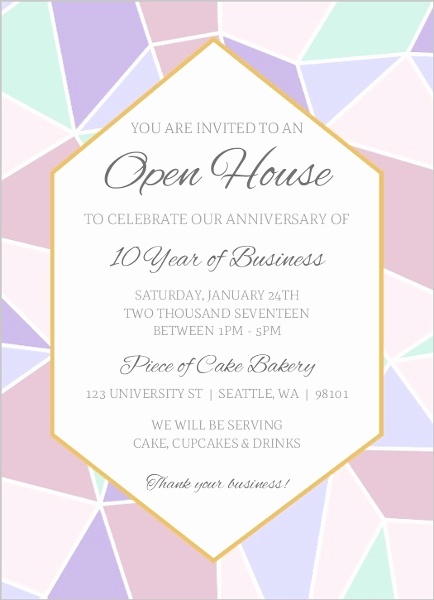 Company Open House Invitation Elegant Geometric Pastel Business Open House Invitation