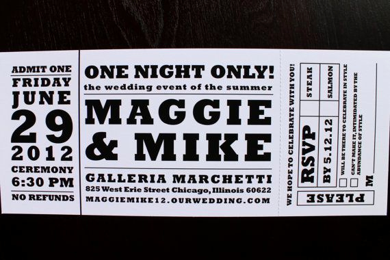 Concert Ticket Invitation Template Best Of Concert Ticket Wedding Invitation by Hobartandhaven On
