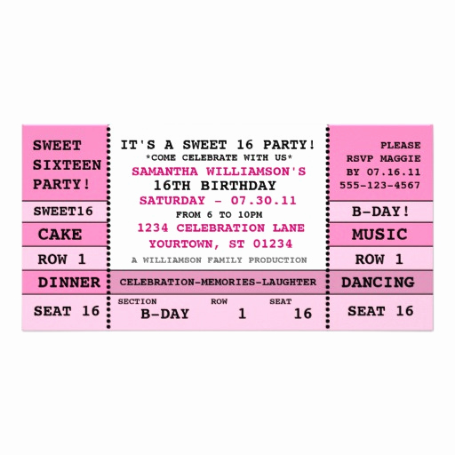 Concert Ticket Invitation Template Best Of Sweet 16 Concert Ticket Invitation Card