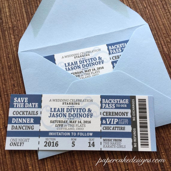 Concert Ticket Invitation Template Elegant Concert Ticket Wedding Save the Date by Papercakedesigns