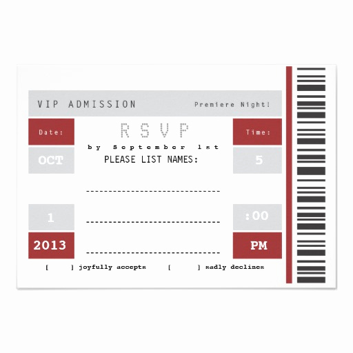 "Concert Ticket Invitation Template Free Fresh Concert Ticket Stub Rsvp 3 5"" X 5"" Invitation Card"