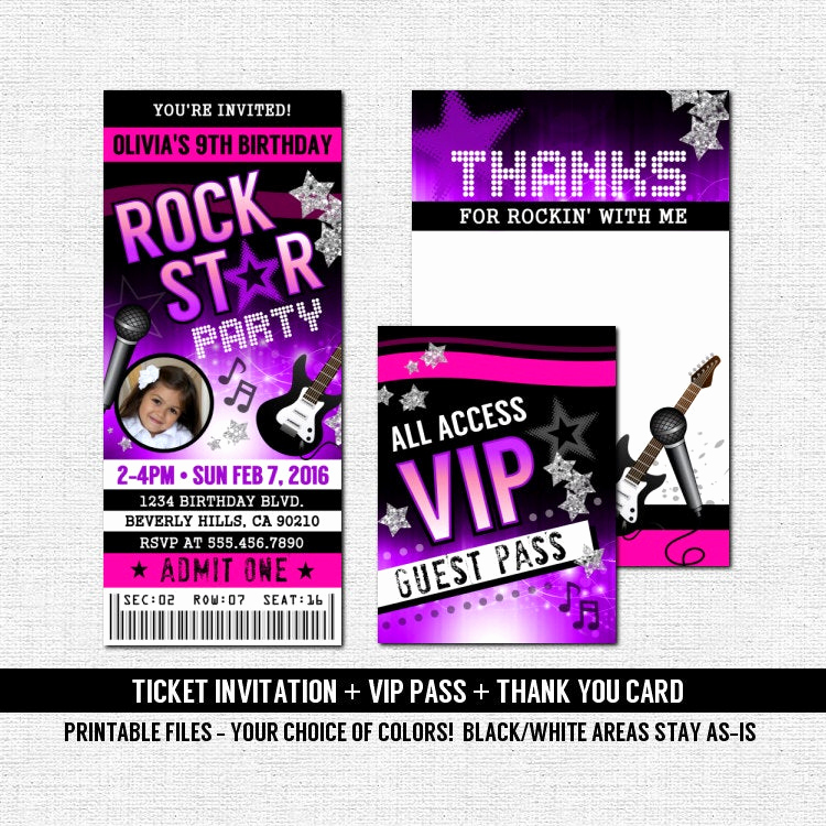 Concert Ticket Invitation Template Lovely Concert Ticket Invitations Rock Star Birthday Party Thank