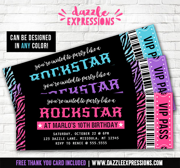 Concert Ticket Invitation Template Luxury Printable Glitter Zebra Rockstar Ticket Birthday
