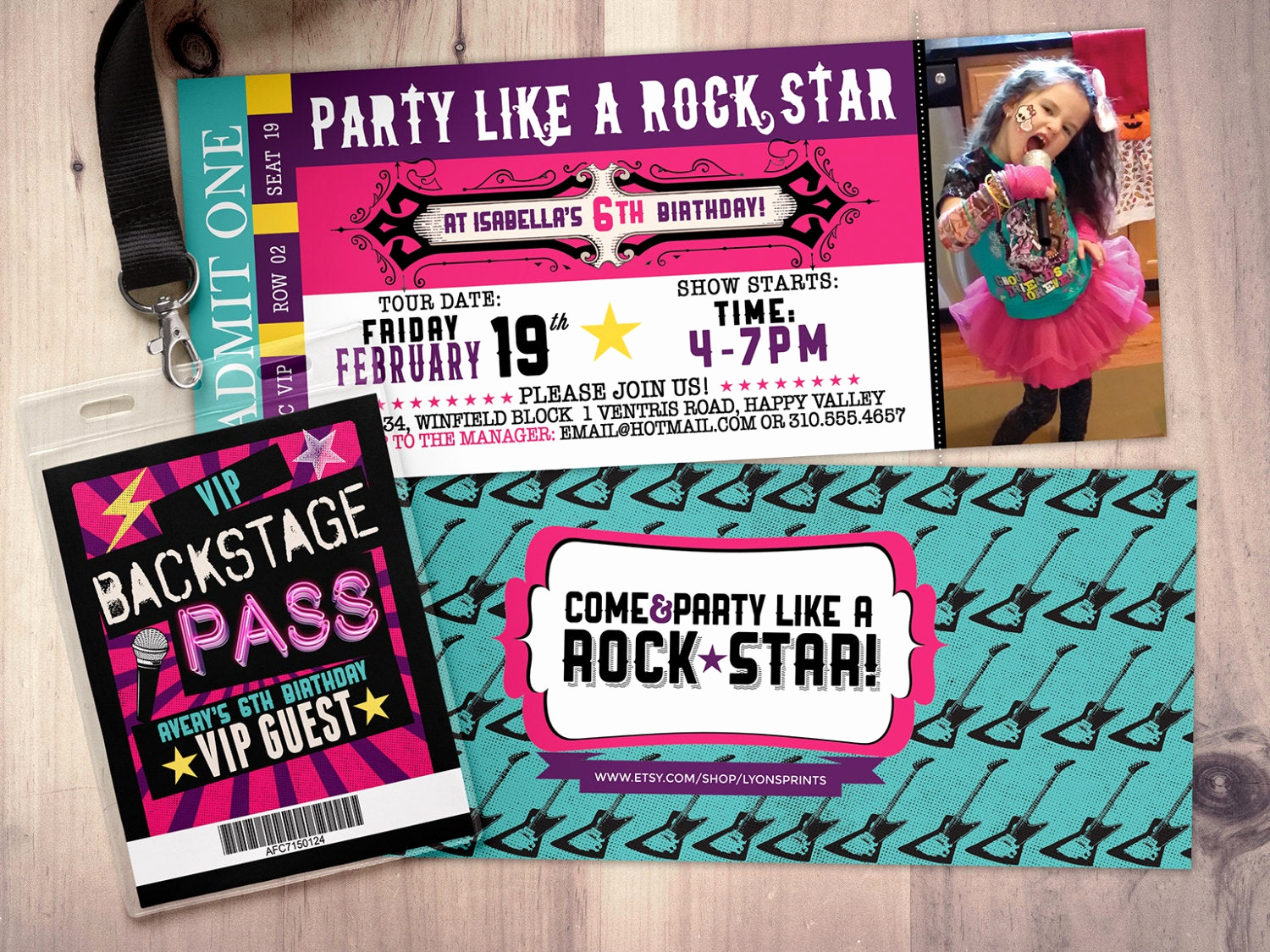 Concert Ticket Invitation Template Unique Pop Star Rock Star Concert Ticket Birthday Party