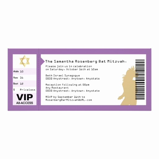 """Concert Ticket Invitation Templates Awesome Concert Ticket Bat Mitzvah Invitation In Purple 4"""" X 9 25"""