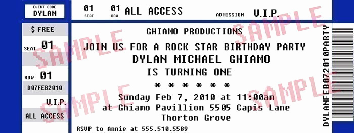 Concert Ticket Invitation Templates Awesome Concert Ticket Party Invitation Rock Star Birthday by