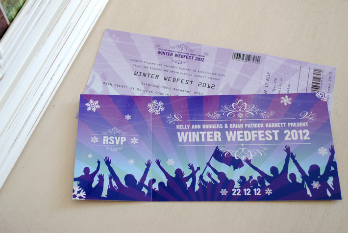Concert Ticket Invitation Templates Awesome Festival Ticket themed Wedding Invitations