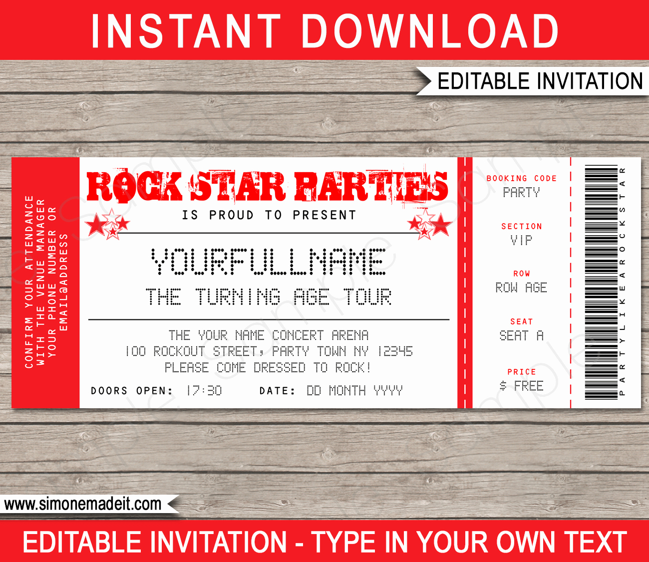 Concert Ticket Invitation Templates Awesome Rock Star Party Ticket Invitation