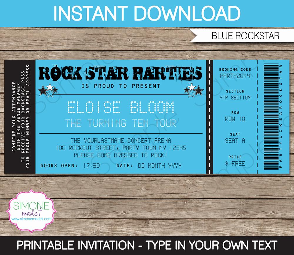 Concert Ticket Invitation Templates Elegant Rockstar Party Ticket Invitation Template Blue