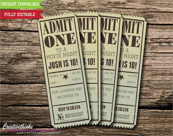 Concert Ticket Invitation Templates Fresh 17 Best Ideas About Ticket Template On Pinterest