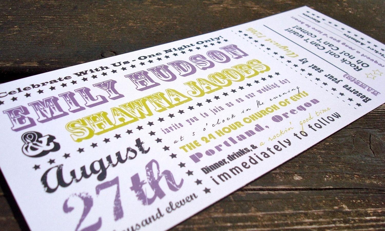 Concert Ticket Invitation Templates Fresh Concert Ticket Wedding Invitation Sample Set by