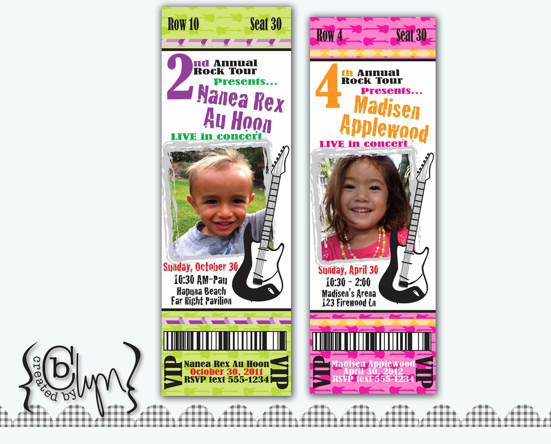 Concert Ticket Invitation Templates Inspirational Concert Ticket Birthday Party Invitation by Createdbylyn