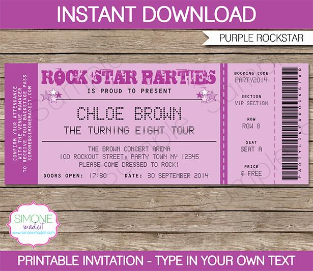 Concert Ticket Invitation Templates Unique Rockstar Invitation & Printable Birthday Party Collection