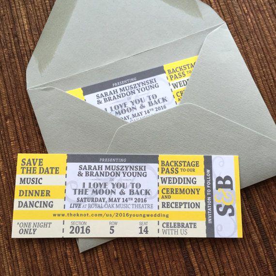 Concert Ticket Wedding Invitation Elegant Concert Ticket Save the Date Diy Printable Wedding