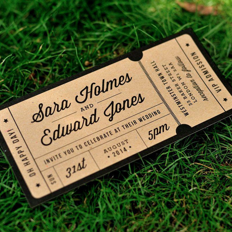 Concert Ticket Wedding Invitation Elegant Rustic Recycled Ticket Wedding Invitation Just the