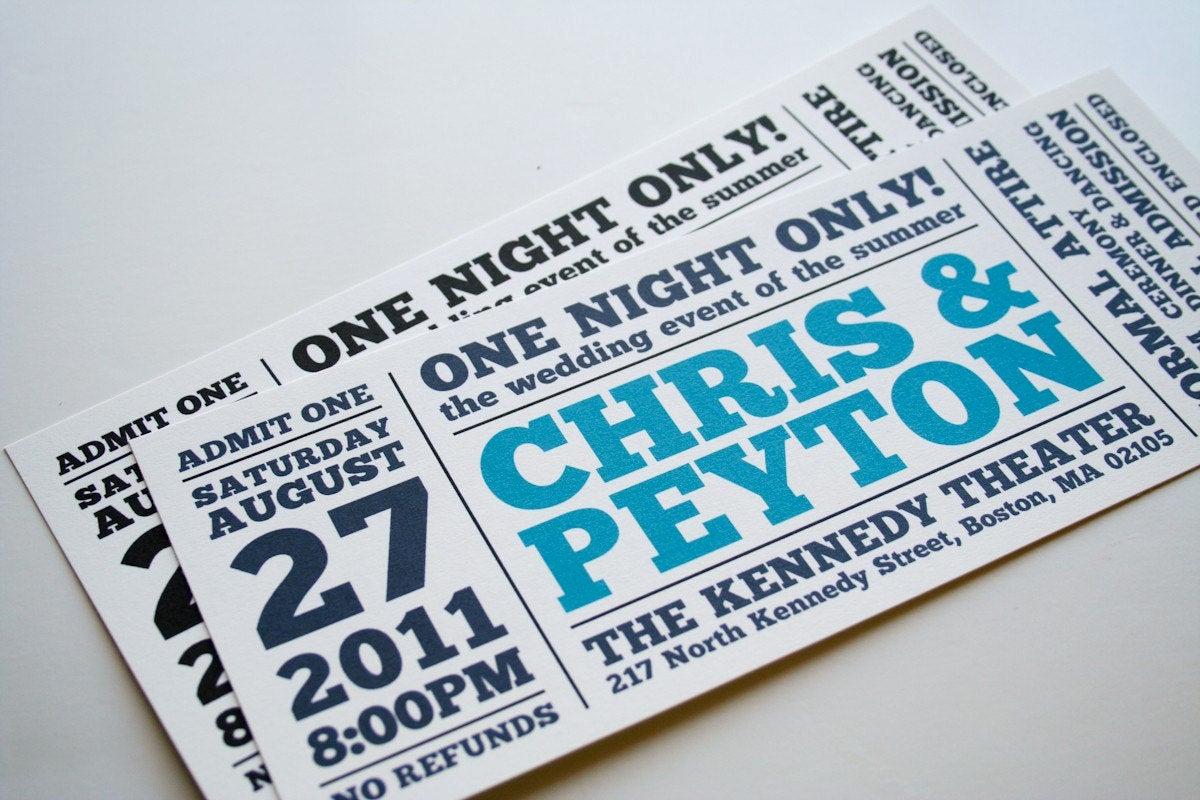 Concert Ticket Wedding Invitation Fresh Wedding Invitation E Night Ly Ticket