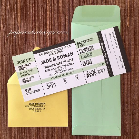 Concert Ticket Wedding Invitation Inspirational Best 25 Concert Tickets Ideas On Pinterest