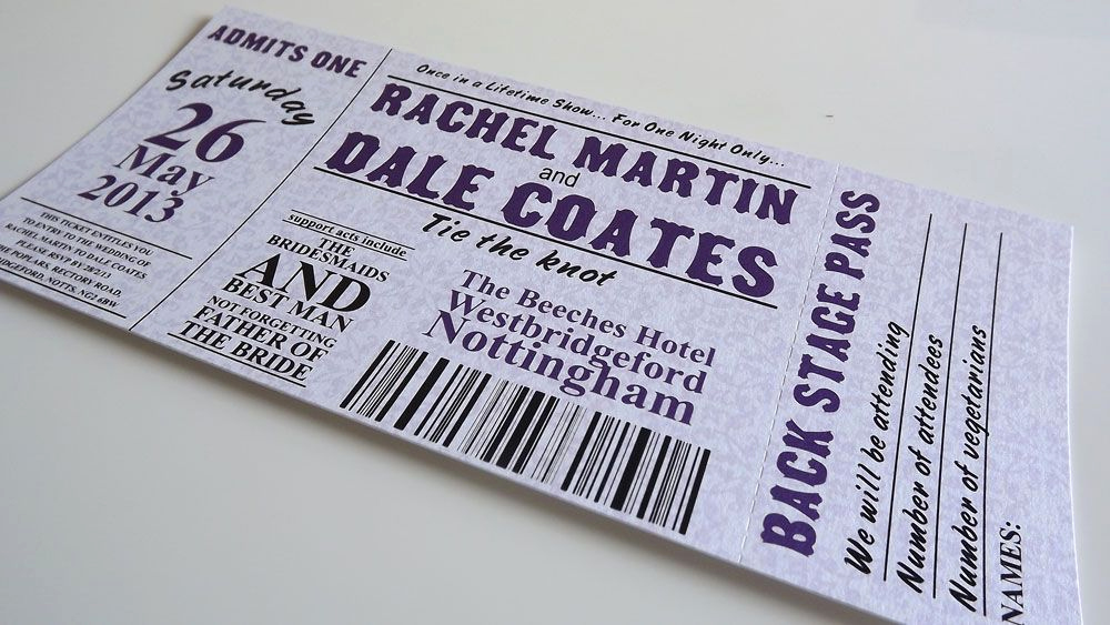 Concert Ticket Wedding Invitation Inspirational Claire Wedding Invitation Concert Ticket Style
