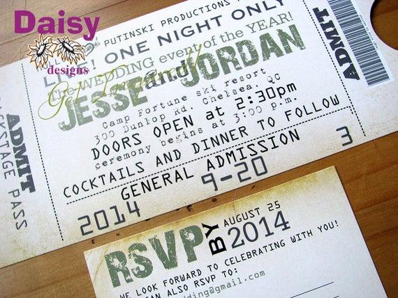 Concert Ticket Wedding Invitation Inspirational Concert Ticket Invitation Wedding Ticket Invite
