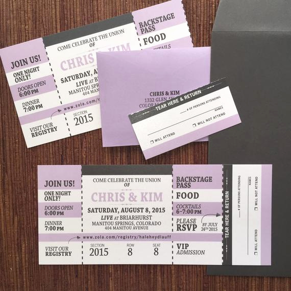 Concert Ticket Wedding Invitation Inspirational Concert Ticket Invitation with Rsvp Tear Off by