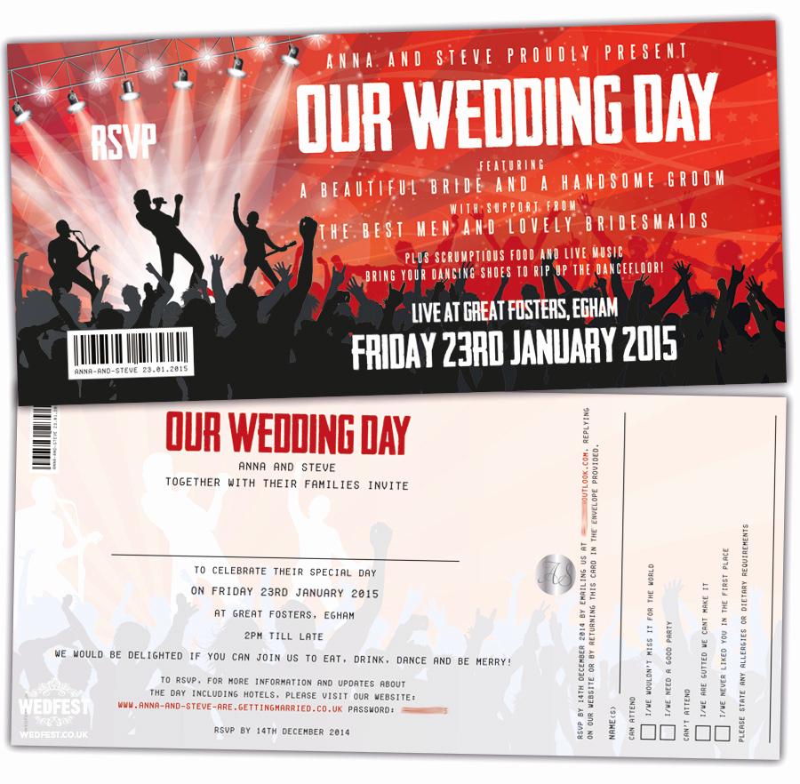 Concert Ticket Wedding Invitation Inspirational Concert Ticket Wedding Invitations
