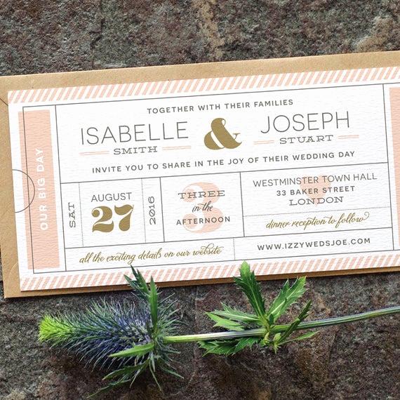 Concert Ticket Wedding Invitation Inspirational Modern Ticket Wedding Invitation Typography by