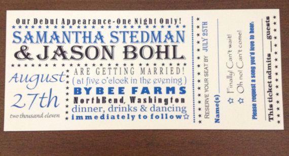 Concert Ticket Wedding Invitation Lovely Custom Concert Ticket Wedding Invitation
