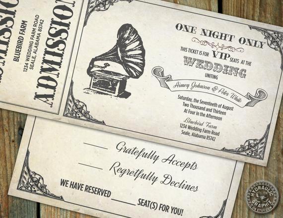 Concert Ticket Wedding Invitation Luxury Vintage Gramophone Wedding Ticket Invitation by